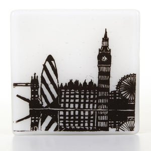 London Riverside Glass Coaster, black
