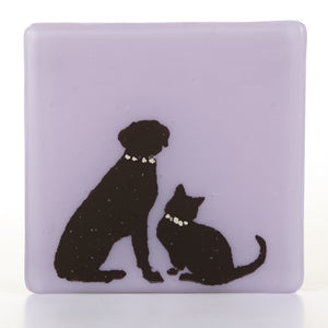 Cat and Dog Glass Coaster