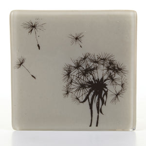 Dandelion Coaster in Black, Glass Coaster