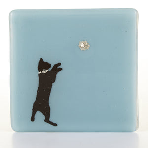 Cat and Ball Glass Coaster, Cat Lovers Gift