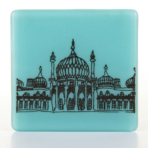 Royal Pavilion Glass Coaster in black