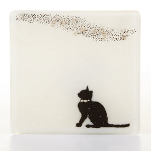 Cat and Birds Glass Coaster