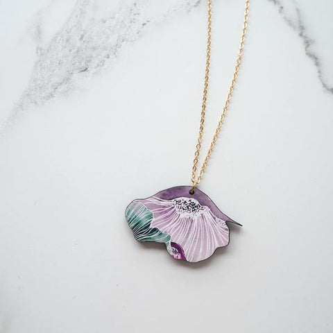 Anenome Necklace, Statement Pink Flower Necklace