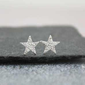 Sterling silver textured star studs