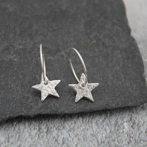 Sterling silver star hoops