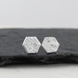 Sterling silver textured hexagon studs