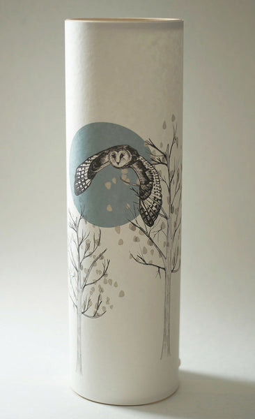 """Flying Owl"" Lamp, Handmade Parchment Paper Lamp"