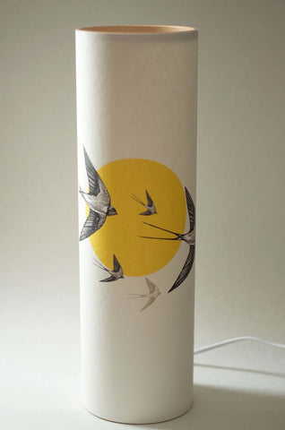 """Flying Swallows"" Handmade Parchment Paper Lamp"