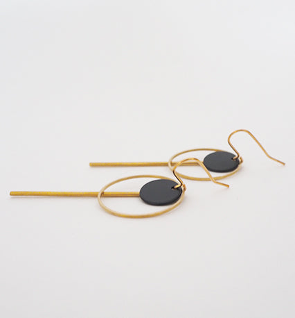 Brass Circle, Bar and Disc Earrings