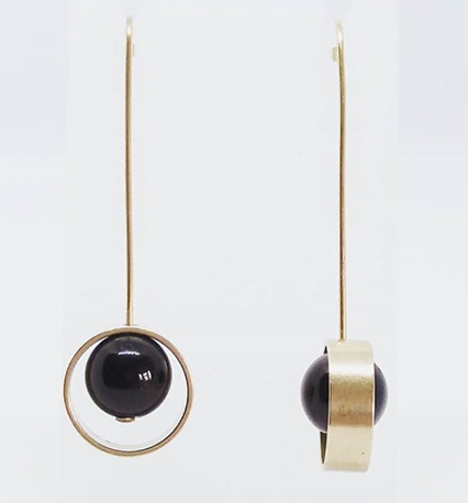 Brass, Bead and Circle Earrings