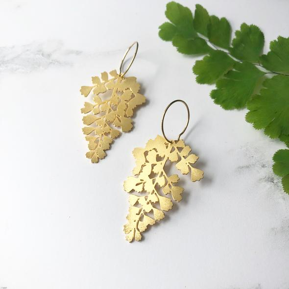 Gold Maidenhair Fern Earrings