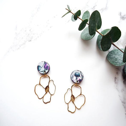 Anenome Gold Flower Drop Earrings, Mica Peet