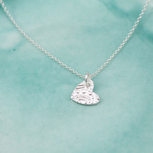 Sterling silver textured heart pendent