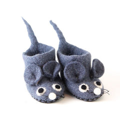 Children's Mice Slippers, Felted booties for little feet