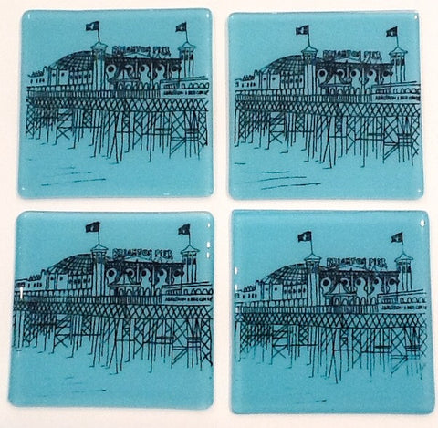 Palace Pier Coasters, set of four, in black