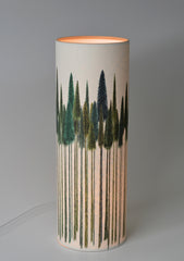 'Green Trees' Illustrated Lamp on Parchment Paper