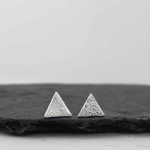 Sterling silver textured triangle studs