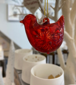 Red Glass Bird Christmas Decoration
