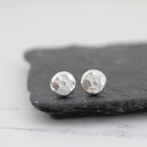 Sterling silver nugget studs