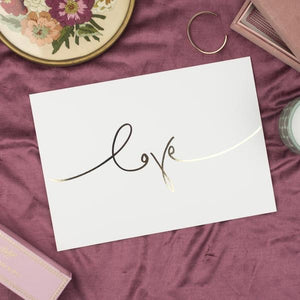 'Love' Gold Foil Handwritten Script - Art Print