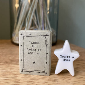 """Thanks for being so amazing"" Porcelain Star Matchbox"