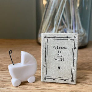 """Welcome to the World"" Porcelain Pram Matchbox"
