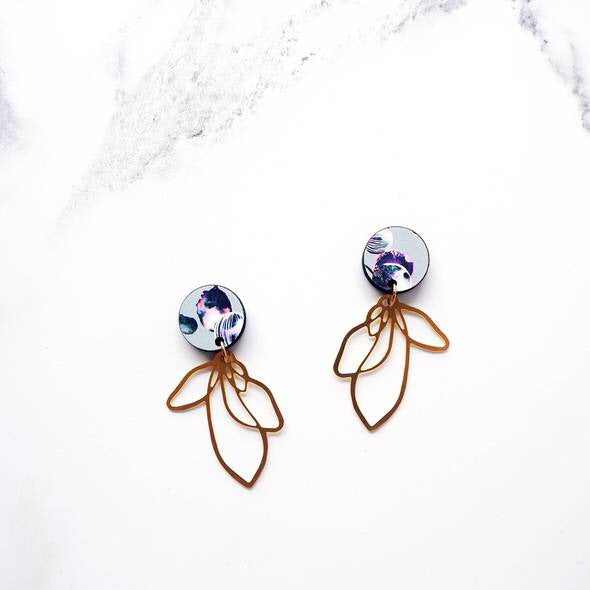 (Allow 2 weeks for delivery) Gold Flower Drop Earrings, Mica Peet