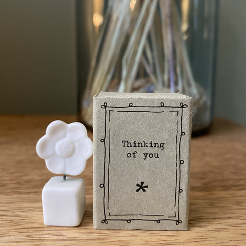 """Thinking of you"" Porcelain Flower in Matchbox"