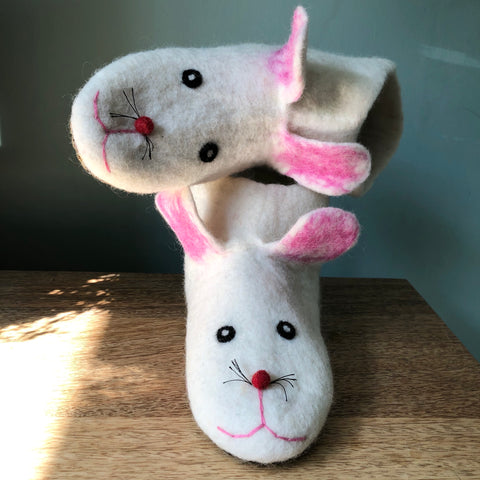 Nobunny is Softer, Felted Rabbit Slippers - Adult Sizes