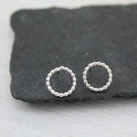 Sterling silver dotty circle studs
