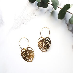Gold Cheese Plant Earrings, Mica Peet