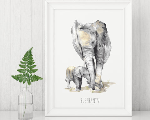 Elephants Art Print by Katie Hipwell