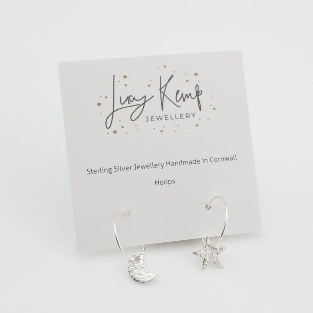 Sterling Silver Moon and Star Hoops