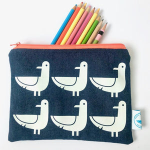Seagull Print Zipped Pouches