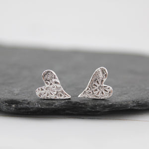 Sterling Silver Tilted Heart Studs