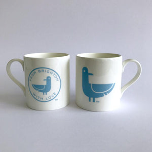 Oscar The Seagull 'From Brighton with Love' Mugs