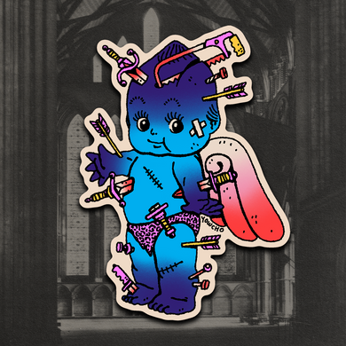 STABBY CHERUB STICKER (BLUE)