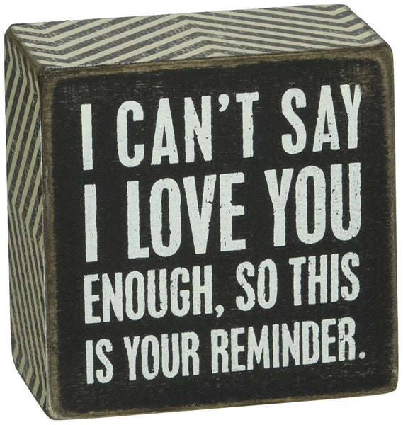 Primitives by Kathy Chevron Trimmed Box Sign, 3 x 3-Inches, I I Love You