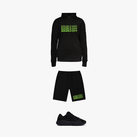 Black & Green 3 Peat Tracksuit Outfit