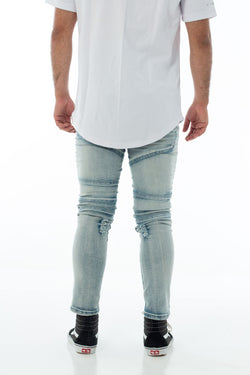 Distressed Biker Jeans / Blue