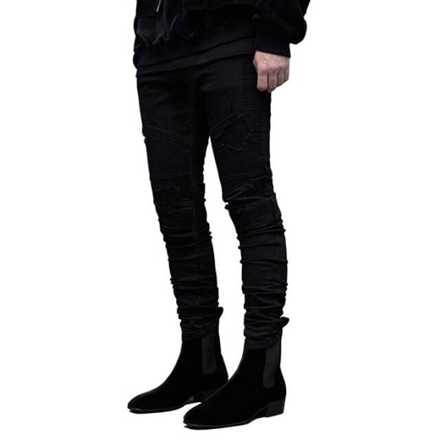 Black / Distressed biker jeans