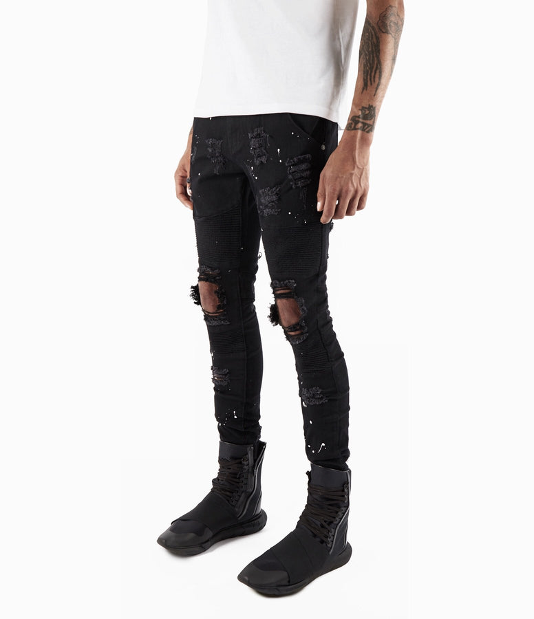 Black Painted Distressed Biker Jeans