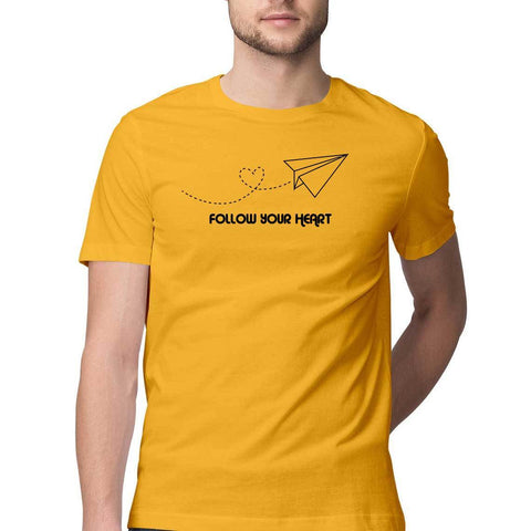 follow your heart mens tshirt yellow