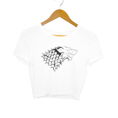 GOT Stark Family Logo women's crop top white