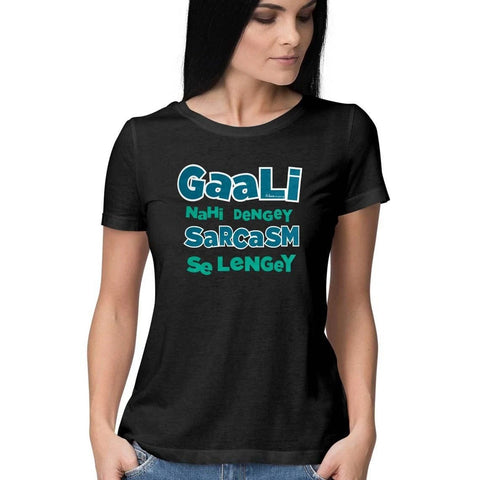 Gaali Nahi Dengey Women's Half Sleeve Black Top