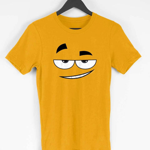 Men's Printed Smiley Half Sleeve Yellow T-Shirt