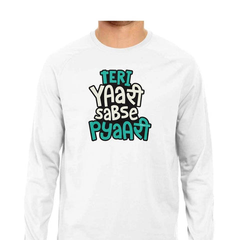 Teri Yaari Sabse Pyaari Men's Full Sleeve White T-Shirt