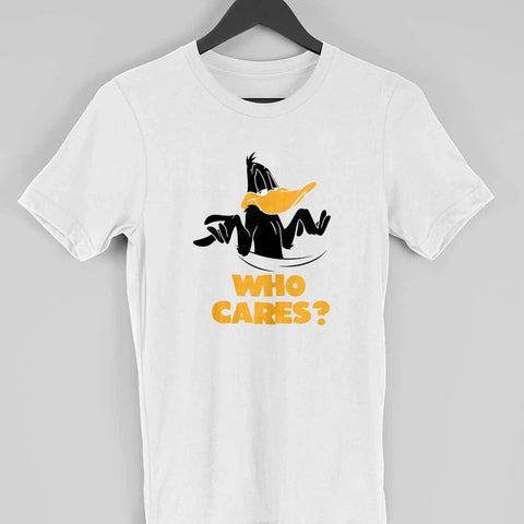 who cares men's half sleeve white tshirt