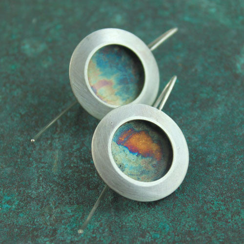 oxidized disc earrings II