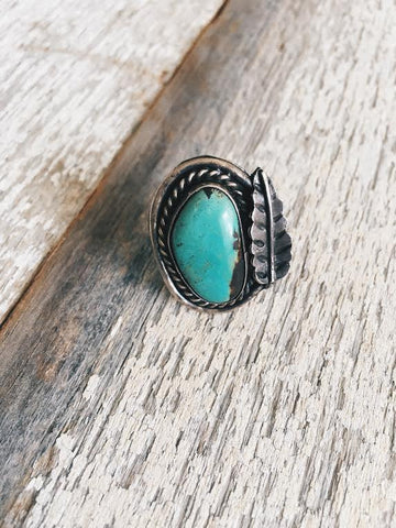 Vintage Turquoise Leaf Ring*SOLD
